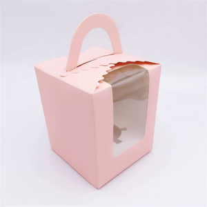 Custom Cardboard Pink Cake Box with Handle