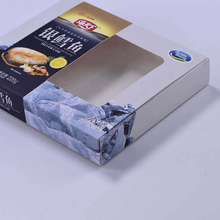 Custom Design White Paperboard Matte Lamination Seafood Box With Window